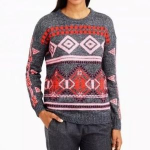 J. Crew abstract fair isle red and gray sweater